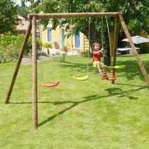Portique bois 2,95 m avec deux balançoires et un vis-à-vis