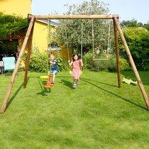 Portique bois 3,07 m avec une balançoire, un trapèze et un vis-à-vis