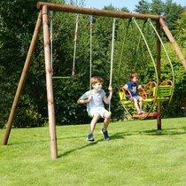 Portique bois 3,27 m avec une balançoire, un trapèze et une balancelle