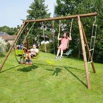 Portique bois 3,48 m avec balançoire, trapèze, balancelle et échelle