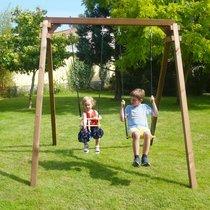 Portique bois 2,10 m avec balançoire et siège bébé en bois