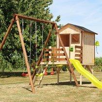 Portique avec maison et toboggan 297 cm en pin autoclave marron