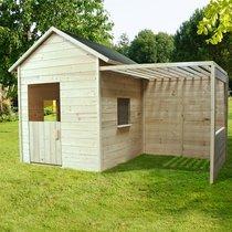 Maison de jardin avec préau 250x127x163 cm en pin naturel
