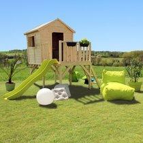 Maison de jardin surélevée avec toboggan 308x229x235 cm en pin naturel
