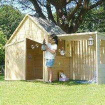 Maison de jardin avec préau 255x128x173 cm en pin naturel