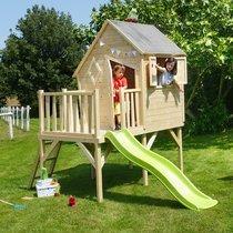 Maison de jardin surélevée avec toboggan 258x255x263 cm en pin