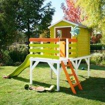 Maison de jardin surélevée avec toboggan 230x242x256 cm en pin naturel