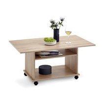 Table basse à roulettes 100x60x44 cm chêne