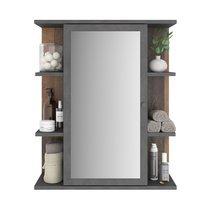 Armoire suspendue avec miroir 60x25x71,5 cm marron vieilli