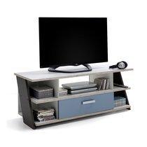 Meuble TV 1 tiroir 135 cm chêne grisé et bleu clair - KAPRA