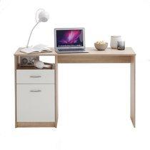 Bureau 1 porte et 1 tiroir 123x50x76,5 cm chêne et blanc
