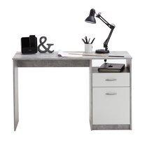 Bureau 1 porte et 1 tiroir 123x50x76,5 cm gris béton et blanc