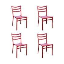Lot de 4 chaises de jardin empilables rouge - FOLKE