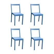 Lot de 4 chaises de jardin empilables bleu - TYGO