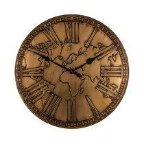 Horloge industrielle Mappemonde 81 cm laiton