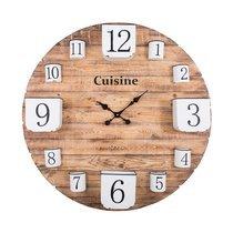 Horloge avec pots de rangement en pin naturel et fer blanc n
