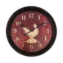 Horloge coq ronde 90 cm rouge vieilli et noir