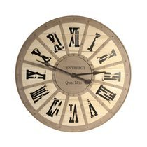 Horloge L'Entrepôt quai n16 ronde 93 cm en sapin et fer