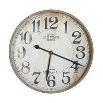 Horloge Old Town ronde 74 cm en fer gris  vieilli et verre