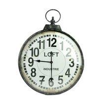 Horloge Loft ronde 60 cm en fer noir vieilli et verre