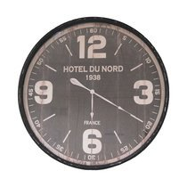 Horloge Hôtel du Nord ronde 89 cm en fer et verre