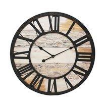 Horloge industrielle ronde 70 cm en fer et bois