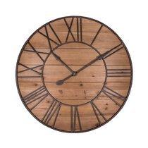 Horloge ronde 90 cm en fer et sapin naturel