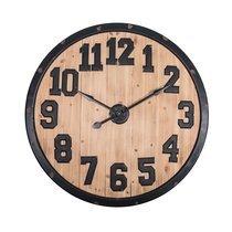 Horloge ronde 102 cm en fer noir vieilli et sapin naturel