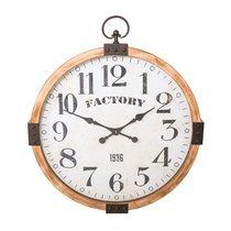 Horloge ronde 75 cm en fer et bois