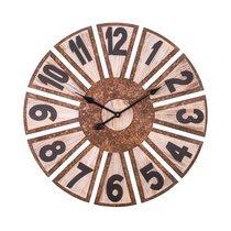 Horloge industrielle ronde 70 cm en bois marron vieilli