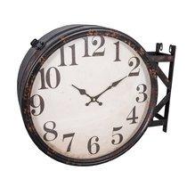 Horloge industrielle 40 cm en fer et verre