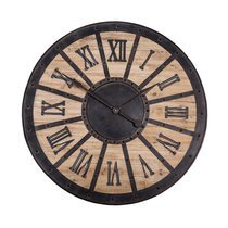 Horloge industrielle 93 cm en fer et sapin