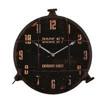 Horloge industrielle hublot 38 cm en métal noir vieilli