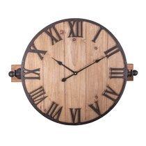 Horloge industrielle ronde 48 cm en sapin et métal gris