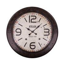 Horloge industrielle Atelier ronde 72 cm en verre et métal