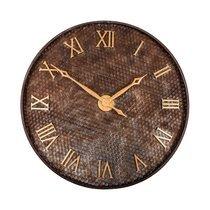 Horloge industrielle ronde 80 cm en métal marron et doré