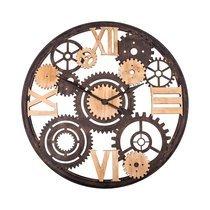 Horloge industrielle engrenages 101 cm en bois et métal
