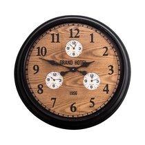 Horloge Grand Hotel ronde 60,5 cm en bois et métal