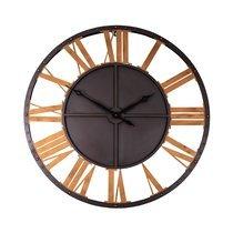 Horloge industrielle chiffres romains 100 cm en métal noir et doré