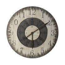 Horloge ronde 80 cm en sapin gris et beige
