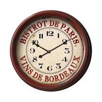 Horloge Bistrot de Paris 50 cm en verre et métal rouge