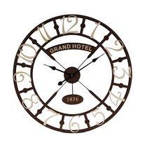 Horloge Grand Hotel ronde 73 cm en métal marron et écru