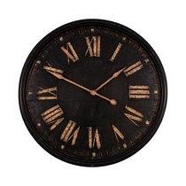 Horloge industrielle ronde 93 cm en métal noir et doré