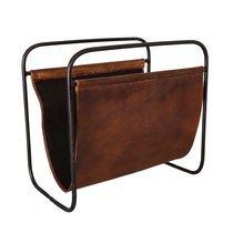 Porte-revues 39x24x37 cm en cuir de chèvre marron et métal