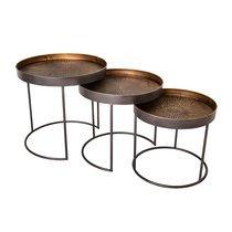 Lot de 3 tables basses rondes 50, 46 et 40 cm en fer marron et laiton