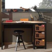 Bureau 3 tiroirs 130x60x75 cm marron et noir - BORY