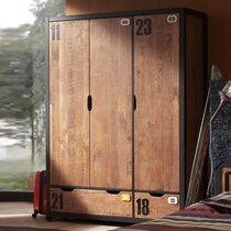 Armoire 3 portes et 2 tiroirs 147,5x55x200 cm marron et noir - BORY