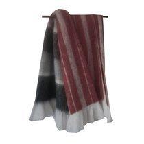 Plaid 125x150 cm en tissu rouge et gris