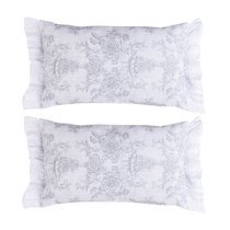 Lot de 2 coussins 50x30 cm imprimés blanc et gris - CASTLE