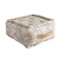 Pouf 40x30 cm en coton imprimé blanc et beige - BAHAMA